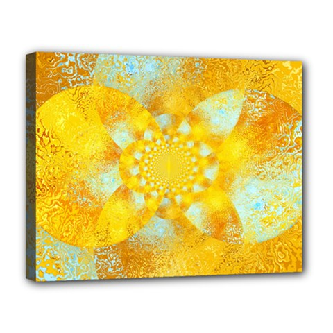 Gold Blue Abstract Blossom Canvas 14  X 11