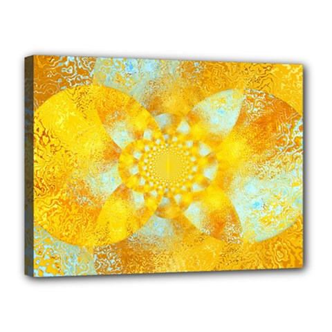 Gold Blue Abstract Blossom Canvas 16  x 12