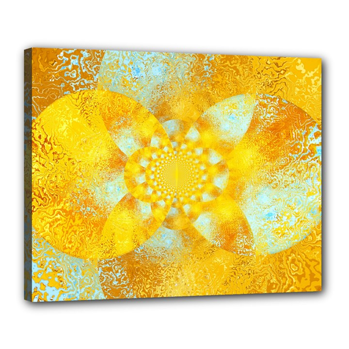 Gold Blue Abstract Blossom Canvas 20  x 16