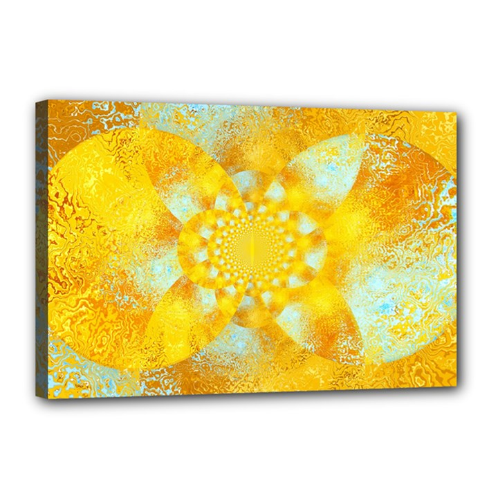 Gold Blue Abstract Blossom Canvas 18  x 12
