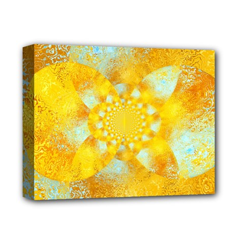 Gold Blue Abstract Blossom Deluxe Canvas 14  x 11
