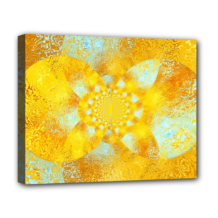 Gold Blue Abstract Blossom Deluxe Canvas 20  x 16