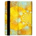 Gold Blue Abstract Blossom Samsung Galaxy Tab 8.9  P7300 Flip Case View3