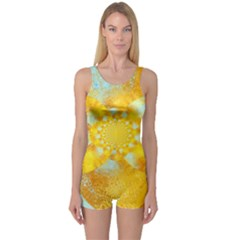 Gold Blue Abstract Blossom One Piece Boyleg Swimsuit