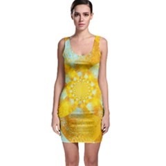 Gold Blue Abstract Blossom Sleeveless Bodycon Dress