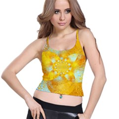 Gold Blue Abstract Blossom Spaghetti Strap Bra Top