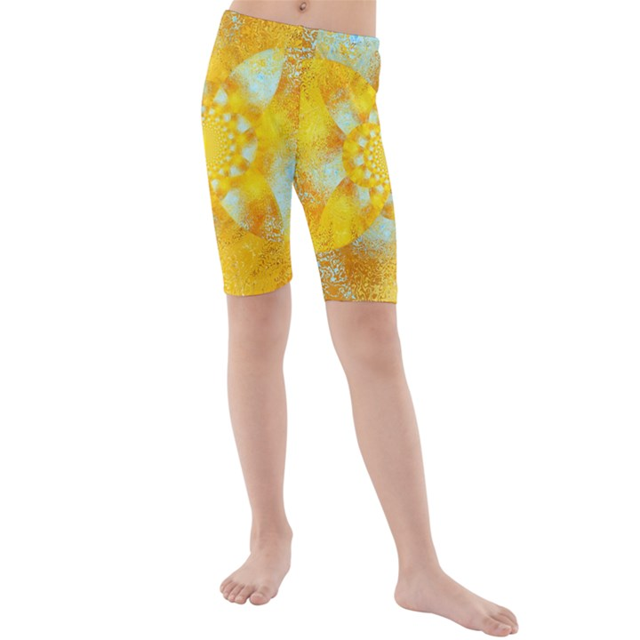 Gold Blue Abstract Blossom Kids  Mid Length Swim Shorts