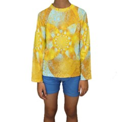 Gold Blue Abstract Blossom Kids  Long Sleeve Swimwear