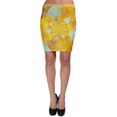 Gold Blue Abstract Blossom Bodycon Skirt