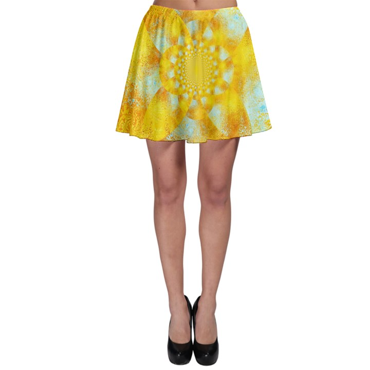 Gold Blue Abstract Blossom Skater Skirt