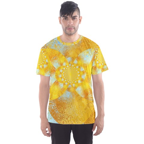 Gold Blue Abstract Blossom Men s Sport Mesh Tee