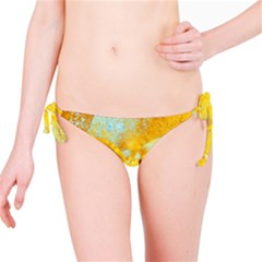 Gold Blue Abstract Blossom Bikini Bottom