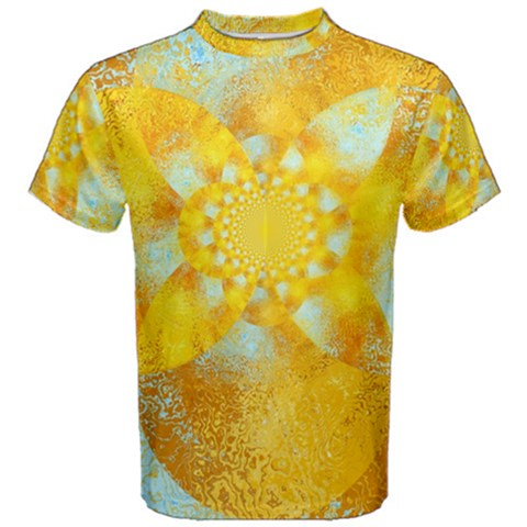 Gold Blue Abstract Blossom Men s Cotton Tee