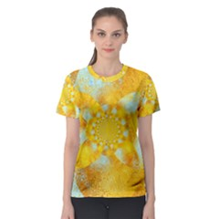 Gold Blue Abstract Blossom Women s Sport Mesh Tee