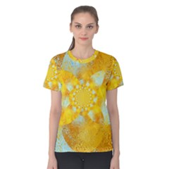 Gold Blue Abstract Blossom Women s Cotton Tee