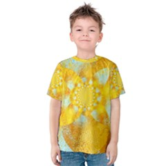 Gold Blue Abstract Blossom Kids  Cotton Tee