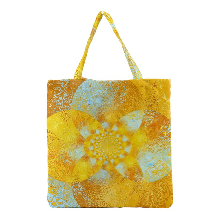 Gold Blue Abstract Blossom Grocery Tote Bag