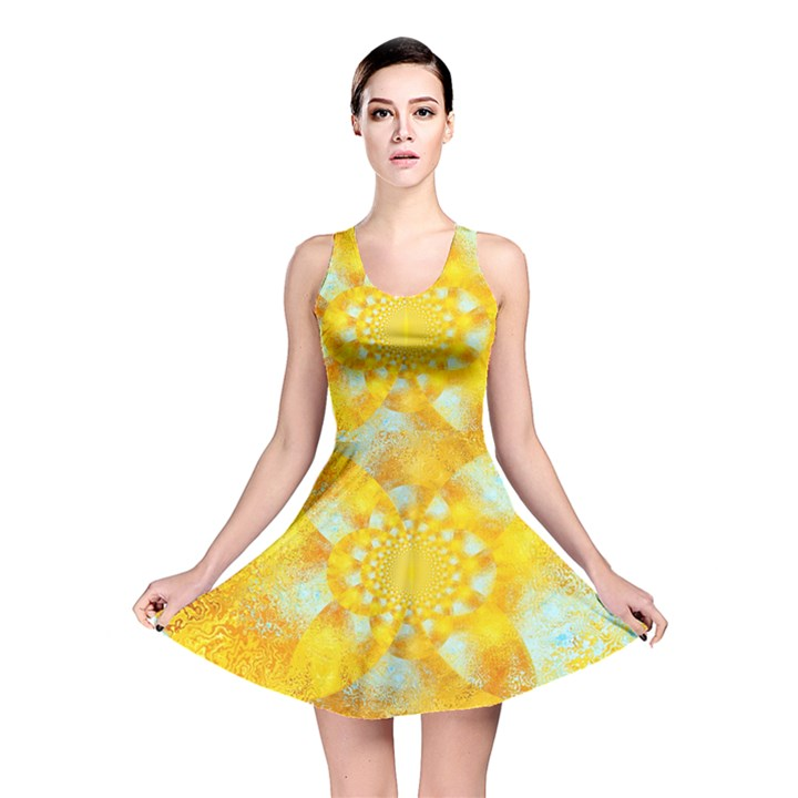 Gold Blue Abstract Blossom Reversible Skater Dress