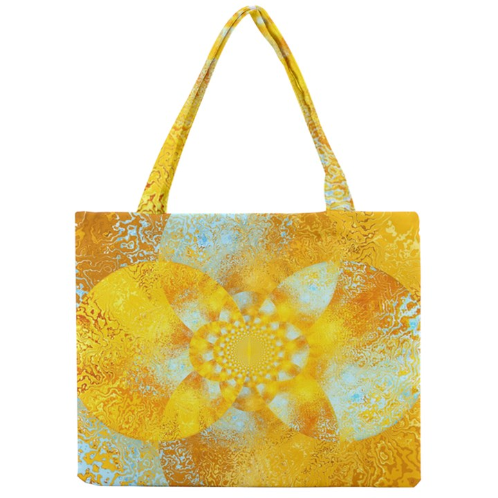 Gold Blue Abstract Blossom Mini Tote Bag