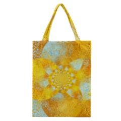 Gold Blue Abstract Blossom Classic Tote Bag