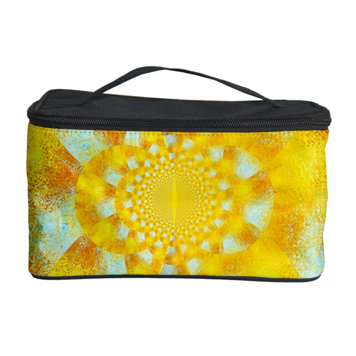 Gold Blue Abstract Blossom Cosmetic Storage Case