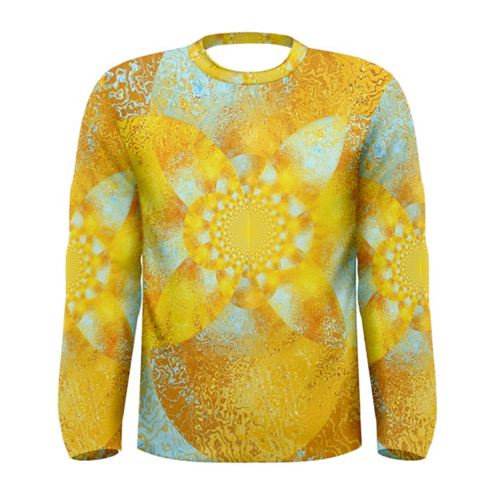 Gold Blue Abstract Blossom Men s Long Sleeve Tee