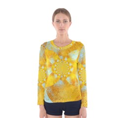 Gold Blue Abstract Blossom Women s Long Sleeve Tee