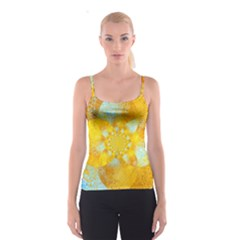 Gold Blue Abstract Blossom Spaghetti Strap Top