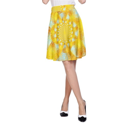 Gold Blue Abstract Blossom A-Line Skirt
