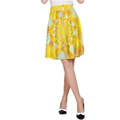 Gold Blue Abstract Blossom A Line Skirt