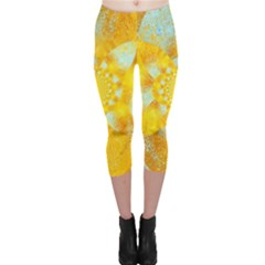 Gold Blue Abstract Blossom Capri Leggings