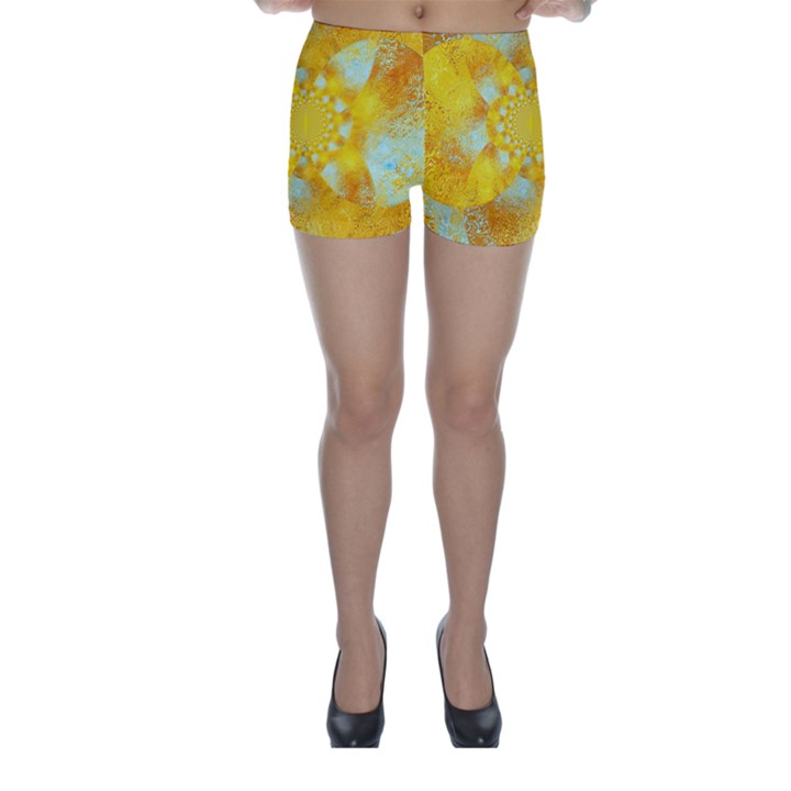 Gold Blue Abstract Blossom Skinny Shorts