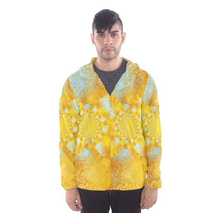 Gold Blue Abstract Blossom Hooded Wind Breaker (Men)