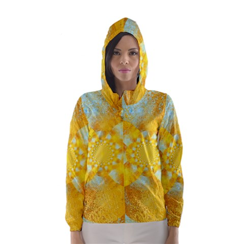 Gold Blue Abstract Blossom Hooded Wind Breaker (Women)