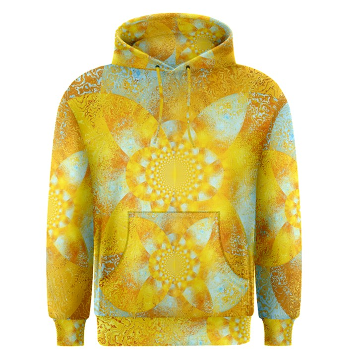 Gold Blue Abstract Blossom Men s Pullover Hoodie
