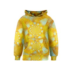 Gold Blue Abstract Blossom Kids  Pullover Hoodie