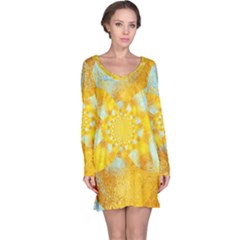 Gold Blue Abstract Blossom Long Sleeve Nightdress