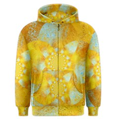 Gold Blue Abstract Blossom Men s Zipper Hoodie