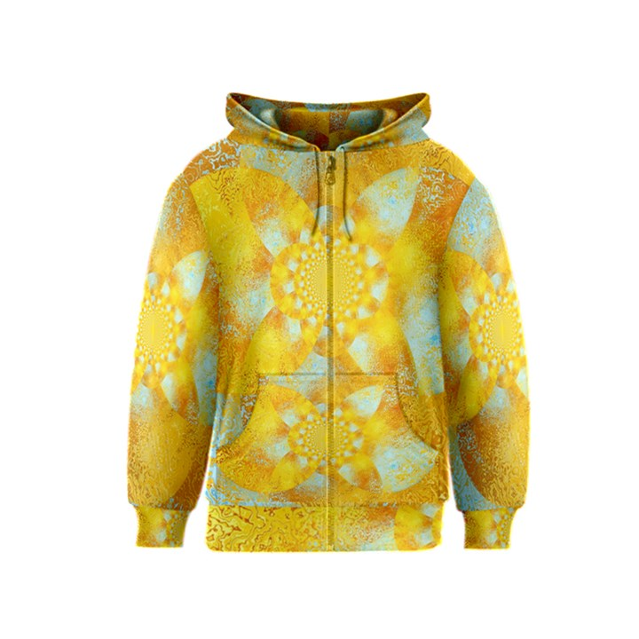 Gold Blue Abstract Blossom Kids  Zipper Hoodie