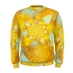 Gold Blue Abstract Blossom Men s Sweatshirt