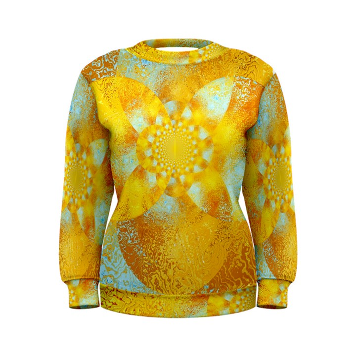 Gold Blue Abstract Blossom Women s Sweatshirt