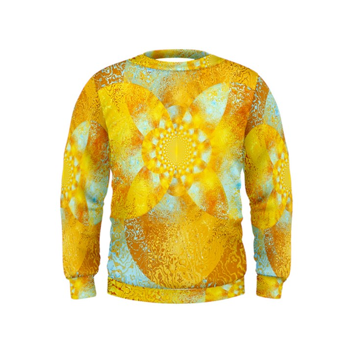 Gold Blue Abstract Blossom Kids  Sweatshirt