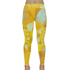 Gold Blue Abstract Blossom Yoga Leggings