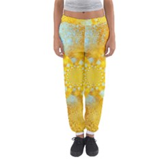 Gold Blue Abstract Blossom Women s Jogger Sweatpants