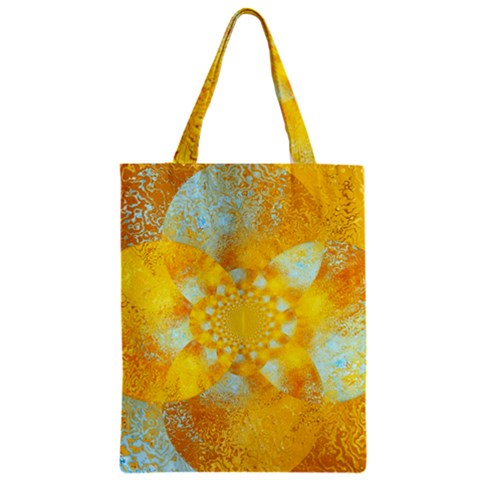 Gold Blue Abstract Blossom Zipper Classic Tote Bag