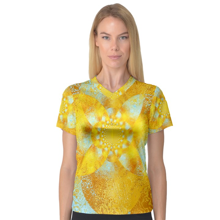Gold Blue Abstract Blossom Women s V-Neck Sport Mesh Tee