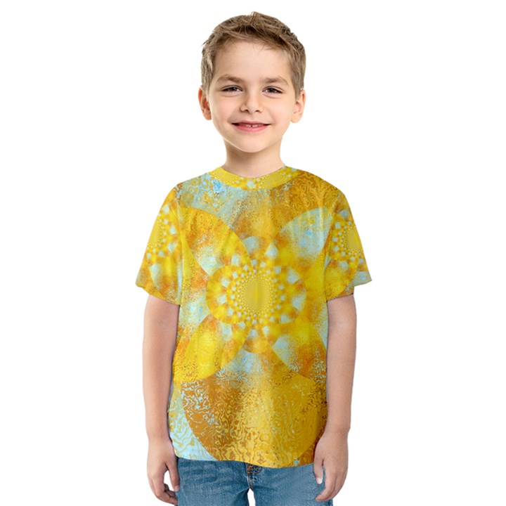 Gold Blue Abstract Blossom Kids  Sport Mesh Tee
