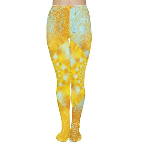 Gold Blue Abstract Blossom Women s Tights