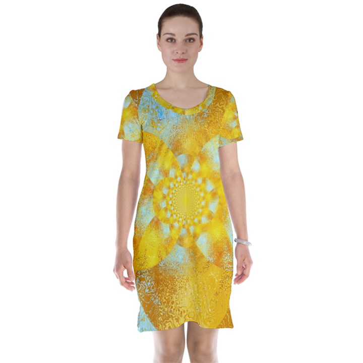 Gold Blue Abstract Blossom Short Sleeve Nightdress