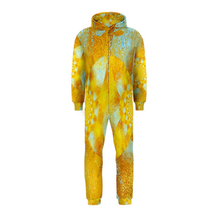 Gold Blue Abstract Blossom Hooded Jumpsuit (Kids)